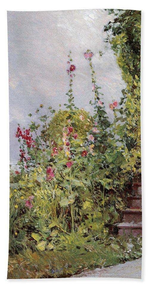 Celia Thaxters Garden Bath Sheet featuring the photograph Celia Thaxters Garden by Childe Hassam