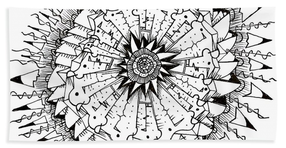 Abstract Bath Sheet featuring the drawing Cell by Daniel Rustad
