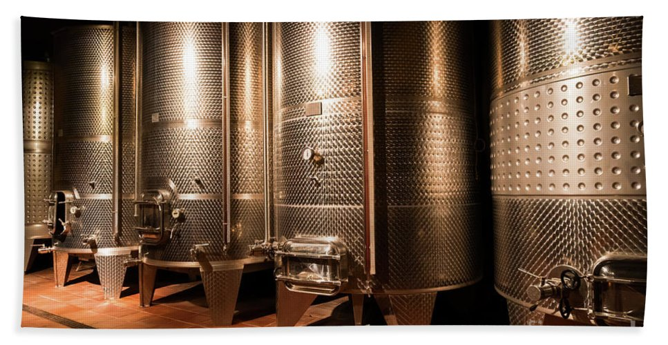 Alcohol Hand Towel featuring the photograph Modern Wine Cellar by Anastasy Yarmolovich