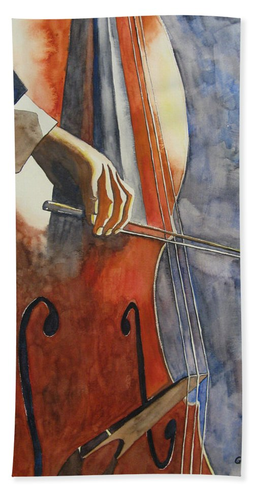 Music Hand Towel featuring the painting Cello by Guri Stark