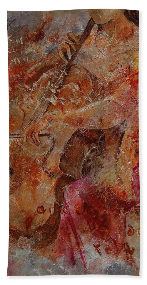 Music Hand Towel featuring the painting Cello Player by Pol Ledent