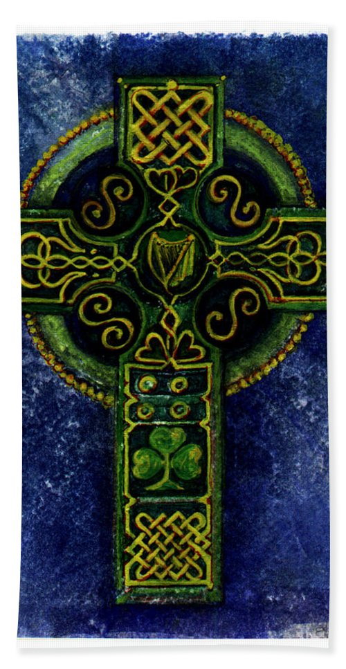 Elle Fagan Bath Towel featuring the painting Celtic Cross - Harp by Elle Smith Fagan
