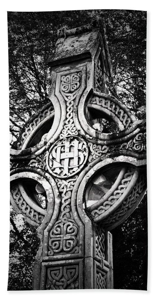 Irish Bath Towel featuring the photograph Celtic Cross Detail Killarney Ireland by Teresa Mucha