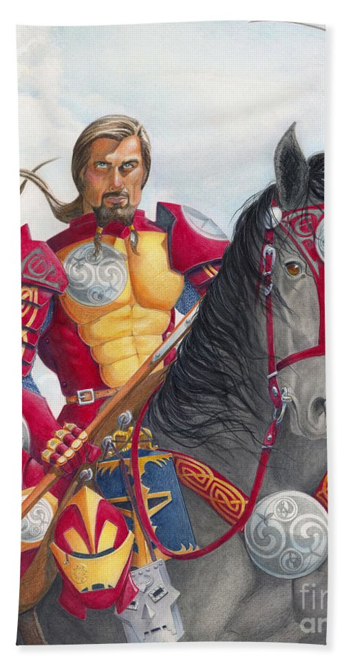 Knight Bath Sheet featuring the drawing Celtic Iron Man by Melissa A Benson