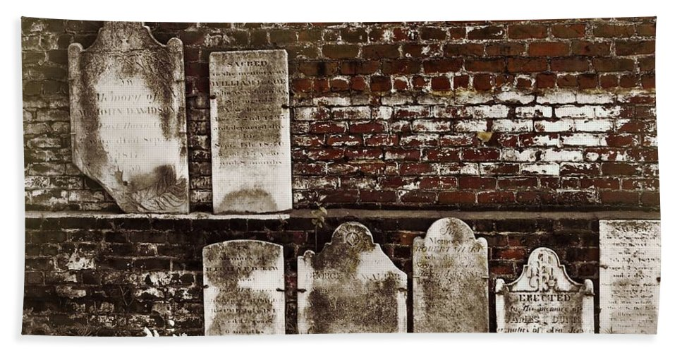 Cemetary Bath Sheet featuring the photograph Cemetary Wall by JAMART Photography