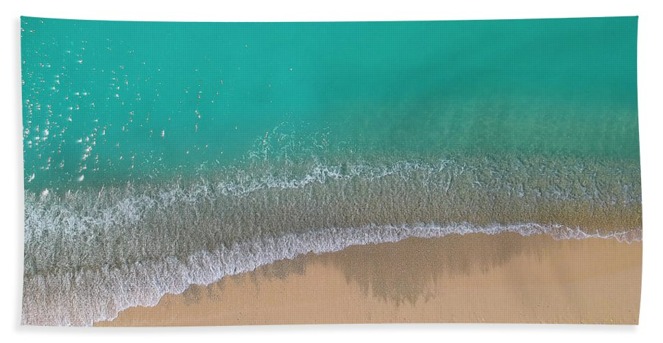 3scape Bath Towel featuring the photograph Cemetery Beach Aerial Panoramic by Adam Romanowicz