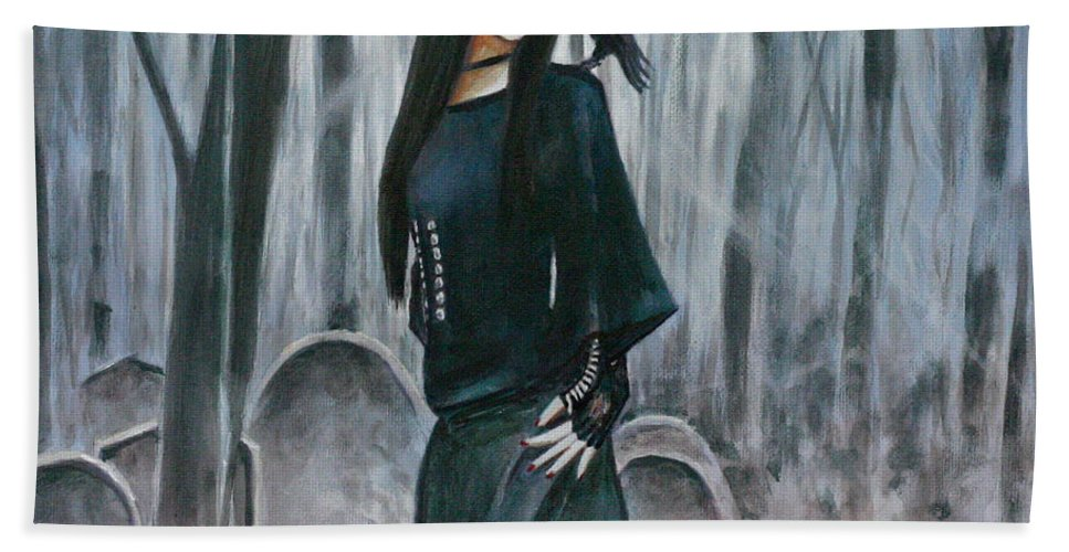 Cemetery Chic Gothic Raven Crow Tombstones Light Trees Goth Woman Hand Towel featuring the painting Cemetery Chic by Andy Lloyd