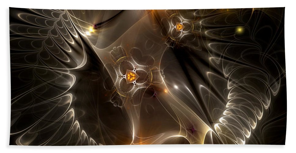 Abstract Bath Sheet featuring the digital art Cenogenesis by Casey Kotas
