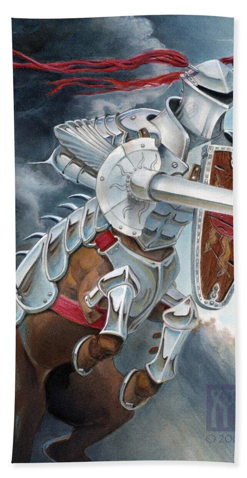 Centaur Bath Sheet featuring the painting Centaur Joust by Melissa A Benson
