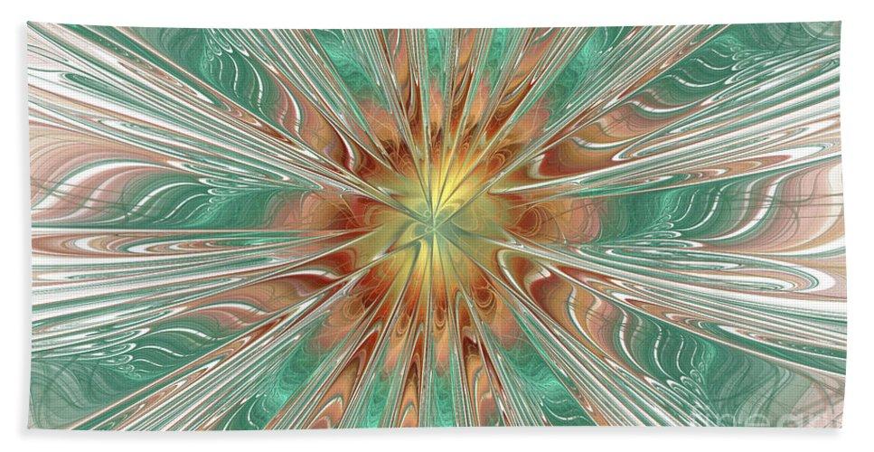 Digital Bath Sheet featuring the digital art Center Hot Energetic Explosion by Deborah Benoit