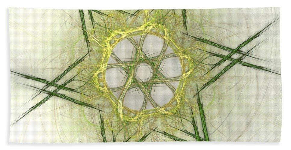 Apophysis Bath Towel featuring the digital art Center Of The Star by Deborah Benoit