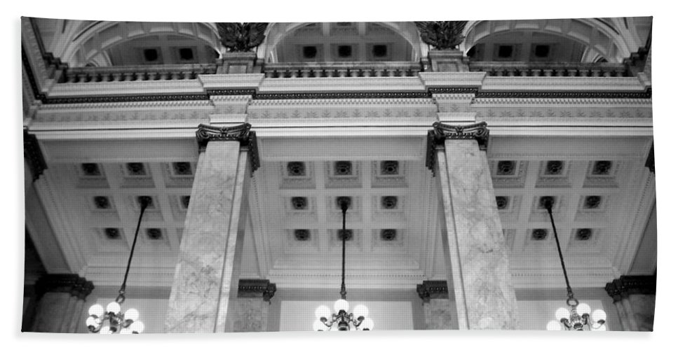 Central Library Bath Towel featuring the photograph Central Library Milwaukee Interior Bw by Anita Burgermeister