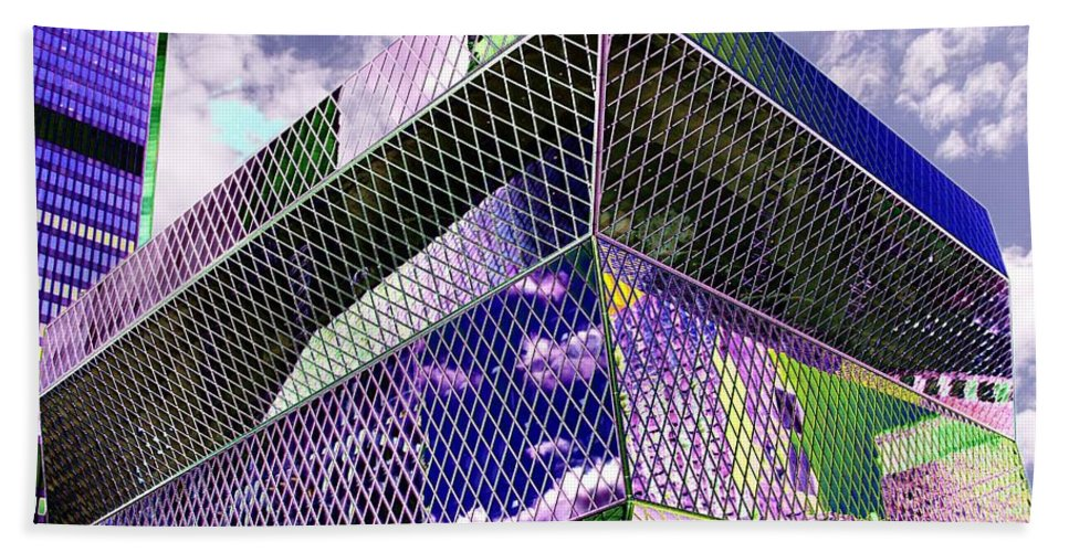 Seattle Bath Towel featuring the digital art Central Library Seattle by Tim Allen