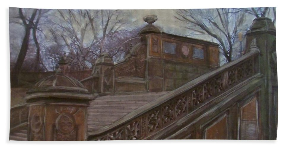 Central Park Bath Sheet featuring the painting Central Park Bethesda Staircase by Anita Burgermeister