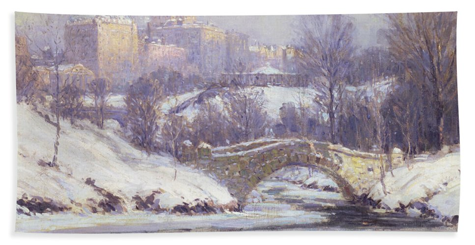 Winter Bath Sheet featuring the painting Central Park by Colin Campbell Cooper