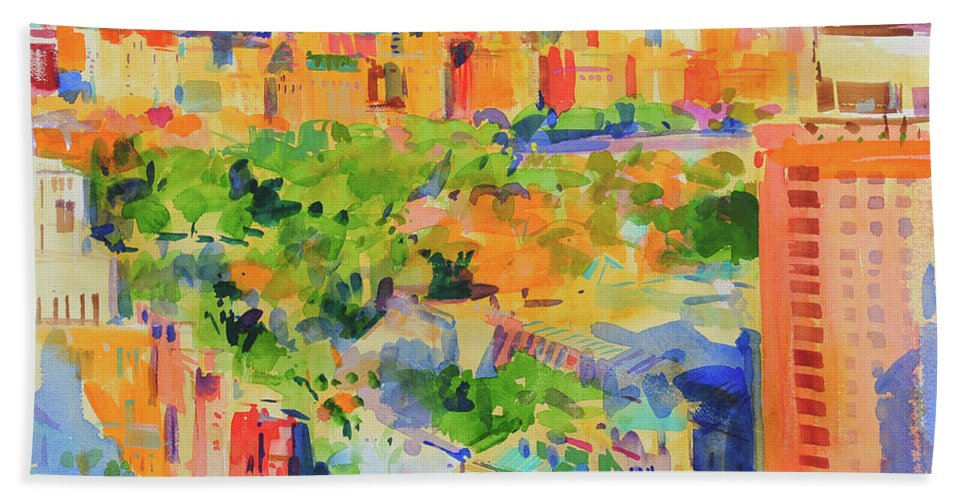 Central Park Hand Towel featuring the painting Central Park From The Carlyle by Peter Graham
