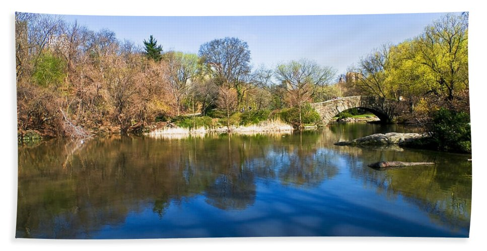 America Bath Sheet featuring the photograph Central Park In New York City by Svetlana Sewell