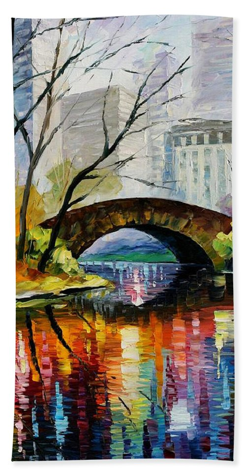 Landscape Hand Towel featuring the painting Central Park by Leonid Afremov