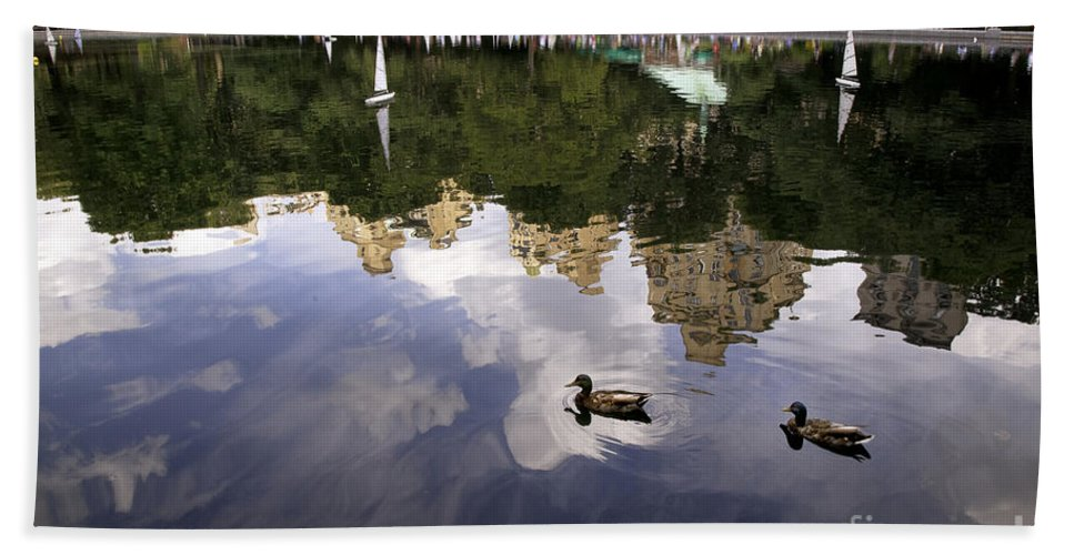 Duck Bath Sheet featuring the photograph Central Park Pond With Two Ducks by Madeline Ellis