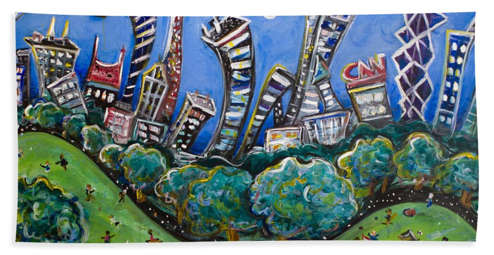 New York City Hand Towel featuring the painting Central Park South by Jason Gluskin