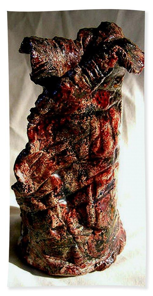 Ceramic Bath Towel featuring the ceramic art Ceramic Red Vase by Madalena Lobao-Tello