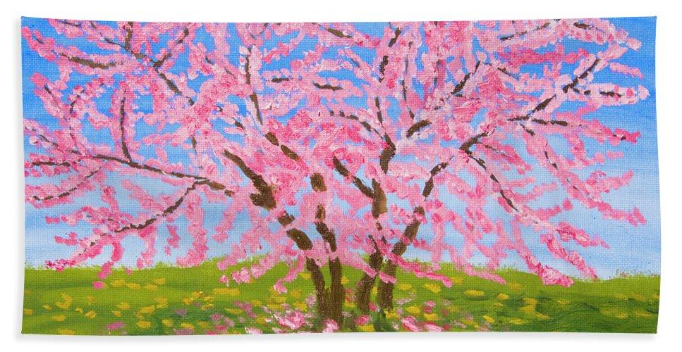 Art Bath Sheet featuring the painting Cercis Tree, Oil Painting by Irina Afonskaya