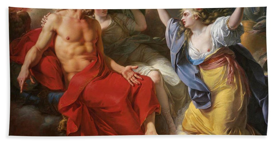 Antoine-francois Callet Bath Sheet featuring the painting Ceres Begging For Jupiter's Thunderbolt After The Kidnapping Of Her Daughter Proserpine by Antoine-Francois Callet