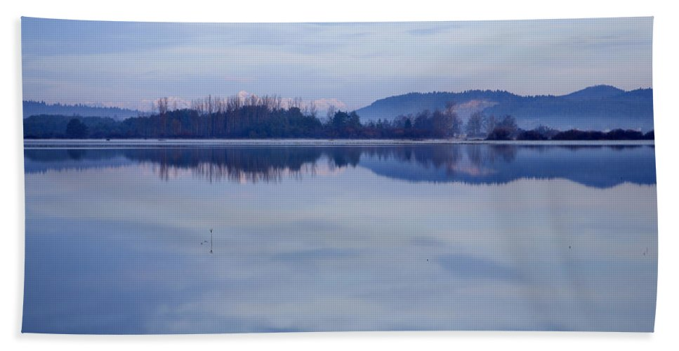 Lake Hand Towel featuring the photograph Cerknica Lake At Dawn With Snow Covered Alps In Background by Ian Middleton
