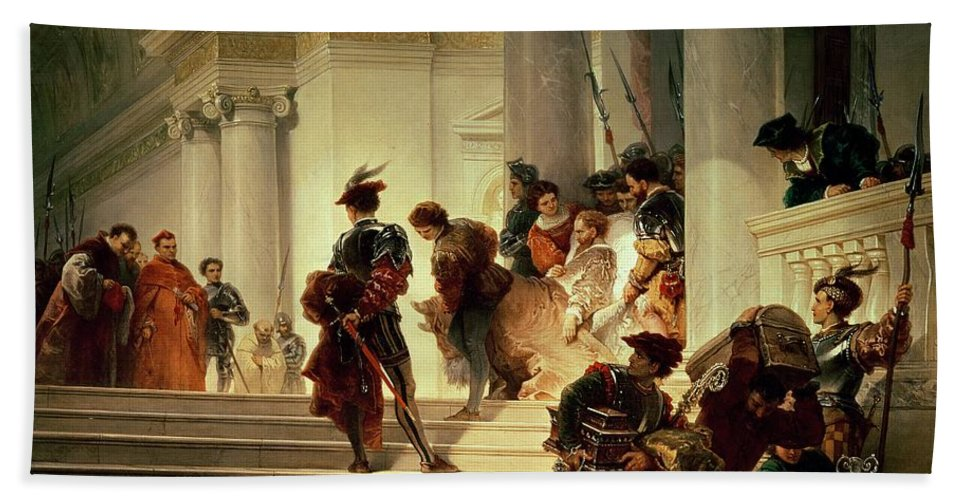 Cesare Hand Towel featuring the painting Cesare Borgia Leaving The Vatican by Giuseppe Lorenzo Gatteri