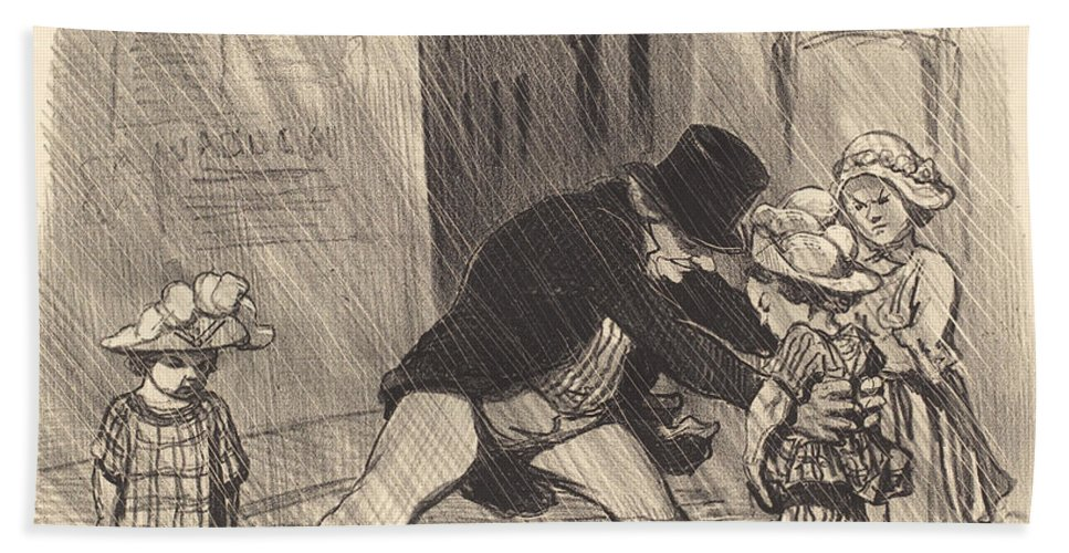 Hand Towel featuring the drawing C'est B?te D'avoir En Hiver, Des... by Honor? Daumier