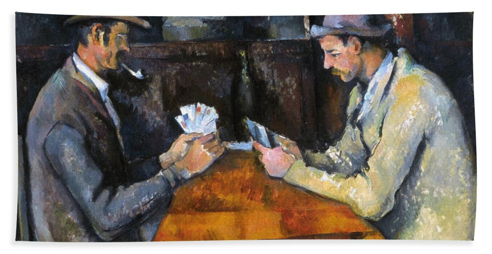 Aod Hand Towel featuring the photograph Cezanne: Card Player, C1892 by Granger