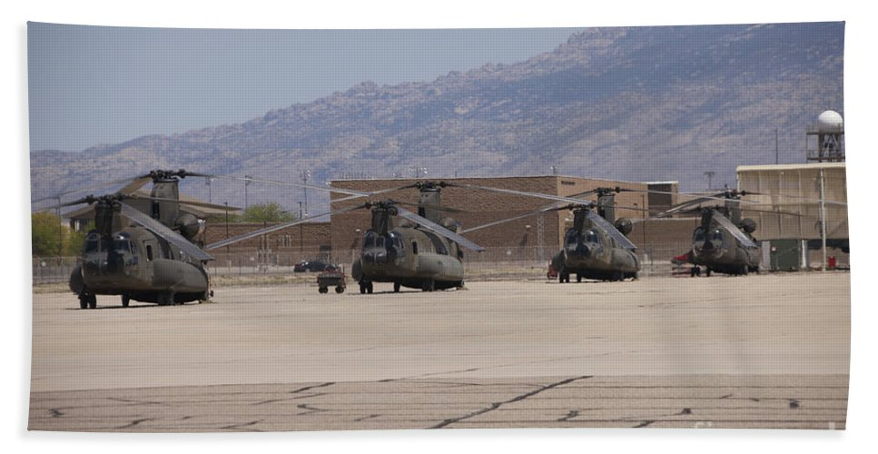 Exercise Angel Thunder Bath Sheet featuring the photograph Ch-47 Chinook Helicopters On The Flight by Terry Moore