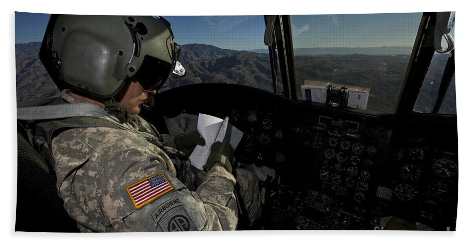 Exercise Angel Thunder Bath Sheet featuring the photograph Ch-47 Chinook Pilot Refers by Terry Moore