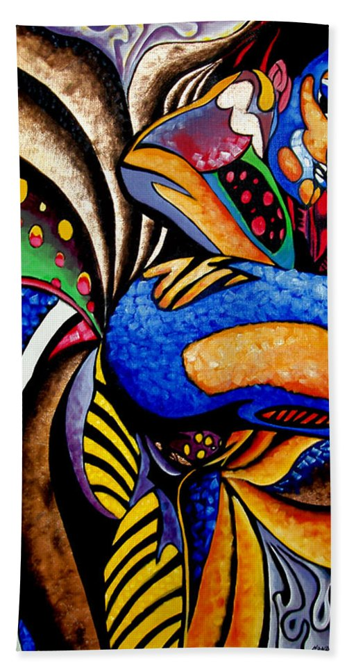 Abstract Hand Towel featuring the painting Ch001 by Che Hondo