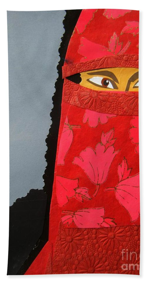 Woman Bath Sheet featuring the mixed media Chador by Debra Bretton Robinson