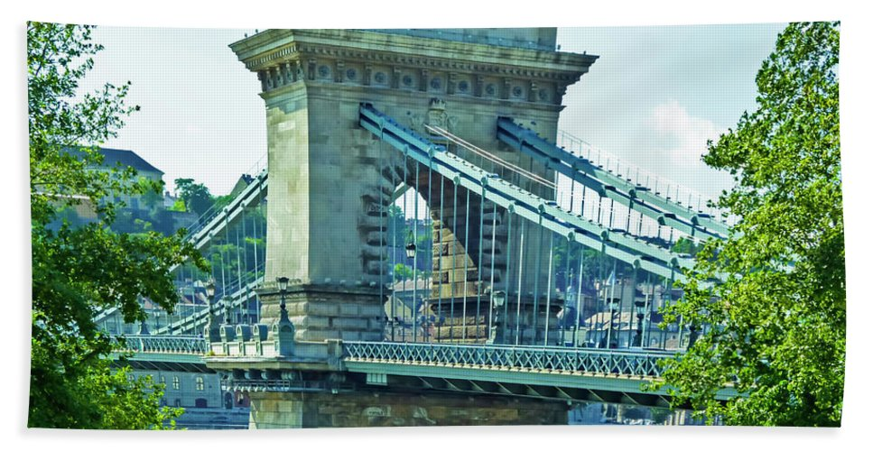 19th Century Suspension Bridge Hand Towel featuring the photograph Chain Bridge Budapest by Edita De Lima