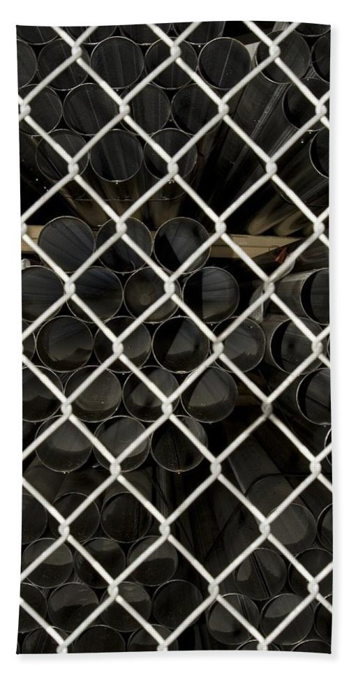 Fence Bath Sheet featuring the photograph Chain Link Pipe by Sara Stevenson