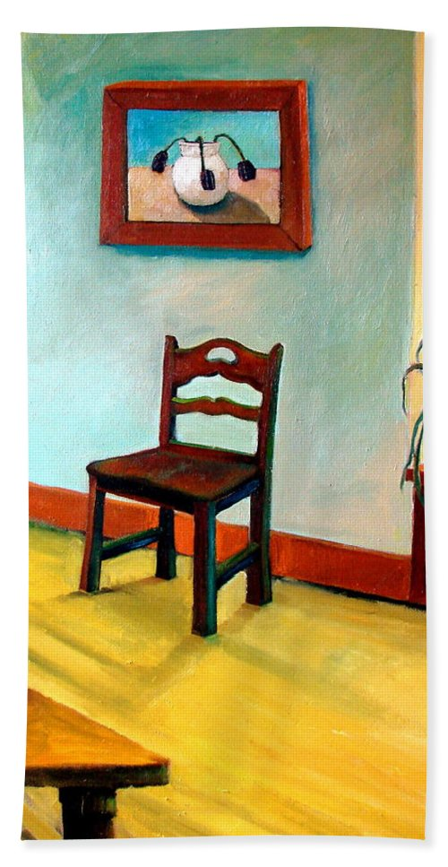 Apartment Hand Towel featuring the painting Chair and Pears Interior by Michelle Calkins