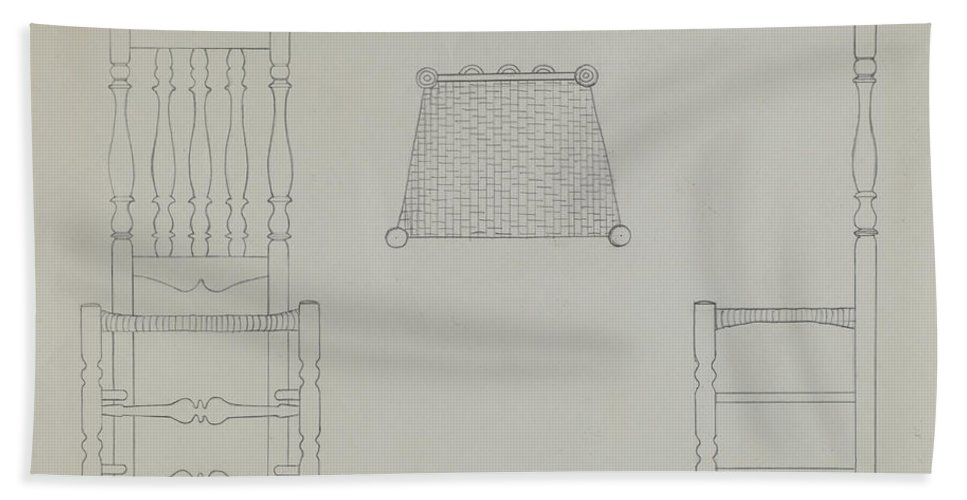 Hand Towel featuring the drawing Chair by Gerald Bernhardt
