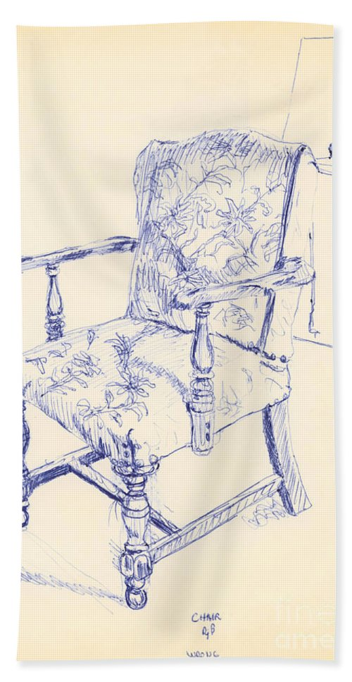 Chair Bath Sheet featuring the drawing Chair by Ron Bissett