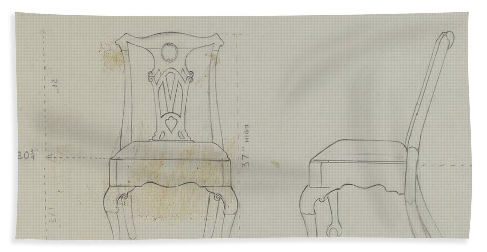 Hand Towel featuring the drawing Chair by Ruth Bialostosky