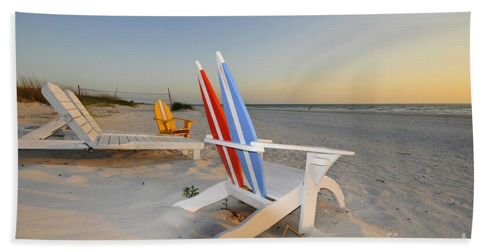 Beach Chairs Bath Sheet featuring the photograph Chairs On The Beach by David Lee Thompson