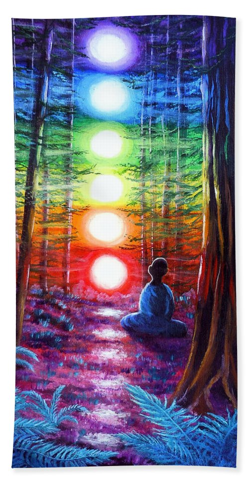 Zen Bath Sheet featuring the painting Chakra Meditation In The Redwoods by Laura Iverson