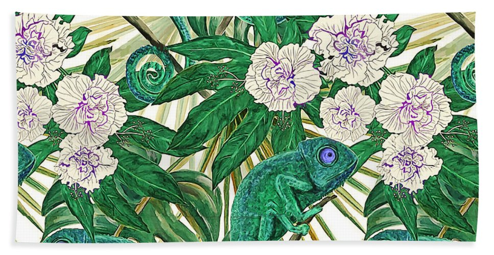 Nature Hand Towel featuring the painting Chameleons And Camellias by Elaine Plesser