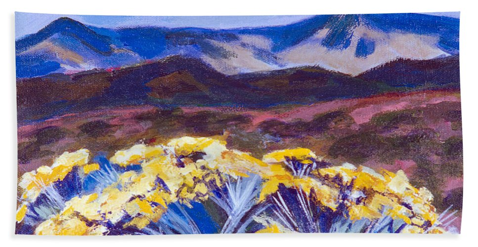 Desert Hand Towel featuring the painting Chamisa And Mountains Of Santa Fe by Betty Pieper