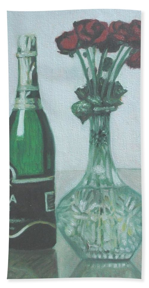 Champagne Hand Towel featuring the painting Champagne And Roses by Usha Shantharam