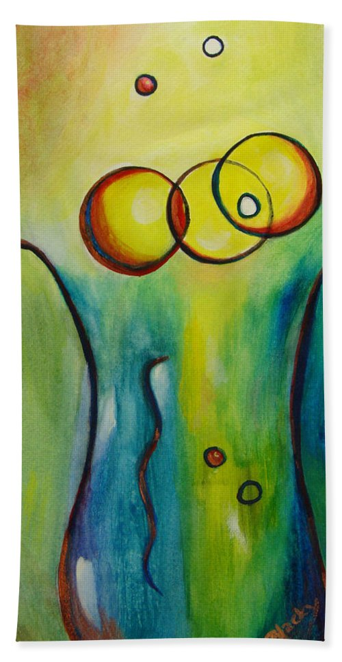 Abstract Hand Towel featuring the painting Champagne by Donna Blackhall