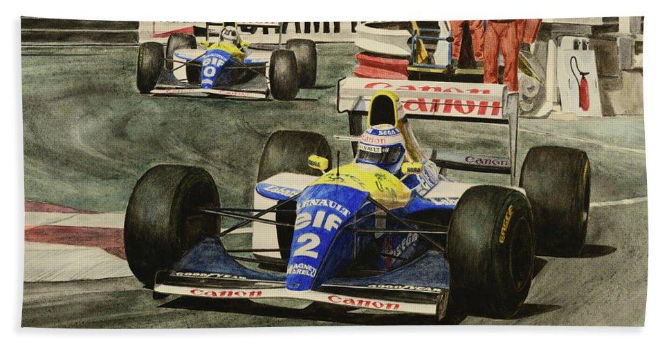 Alain Prost Bath Sheet featuring the painting Champion by Oleg Konin