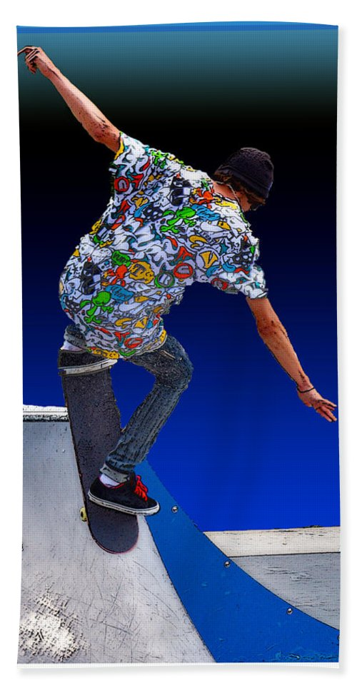 Champion Hand Towel featuring the digital art Champion Skater by Terry Anderson