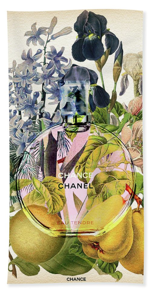 Chanel Hand Towel featuring the painting Chance Eau Tendre Notes 3 by Diana Van
